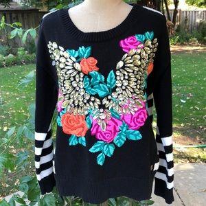 Juicy Couture embroidery/rhinestone stripe sweater